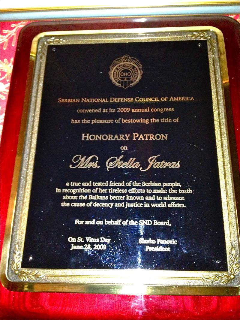 another award from the serbian national defense council of america 2009