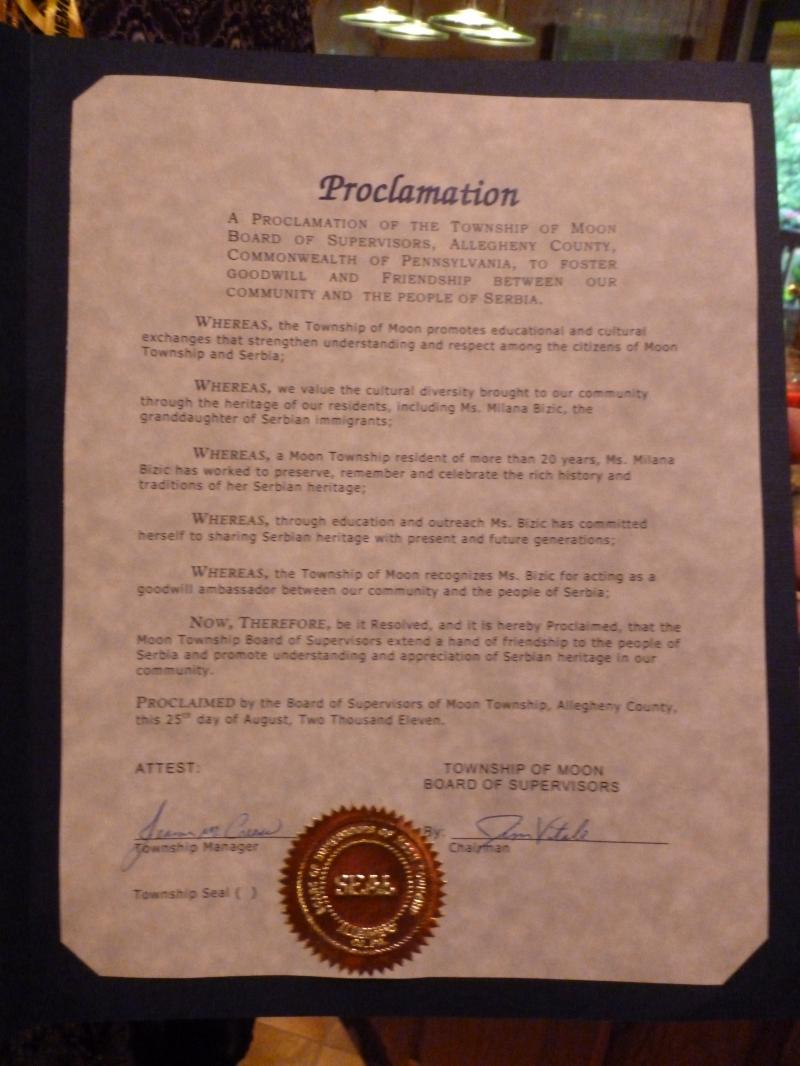 Moon Township Proclamation to people of Serbia